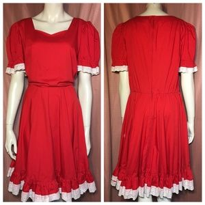 Dresses & Skirts - Vintage 80s does 40s Red Dress Lace Volup